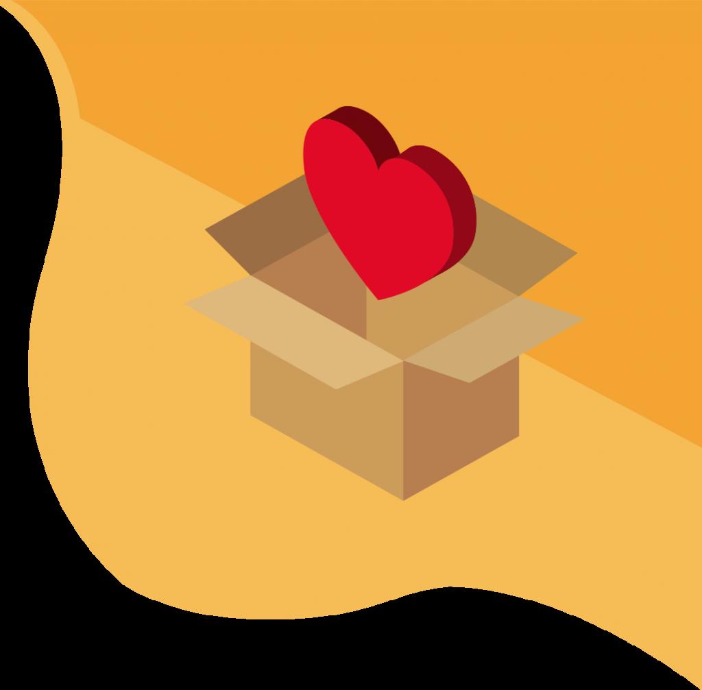boîte en carton avec un coeur à l'intérieur