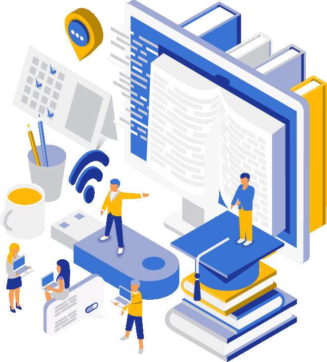 Personnages en pleine formation pour apprendre à créer un site internet