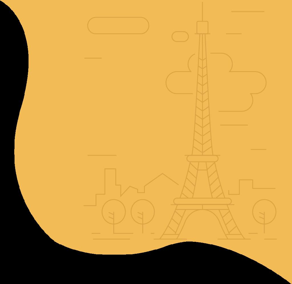 création site internet paris tour eiffel sur fond jaune