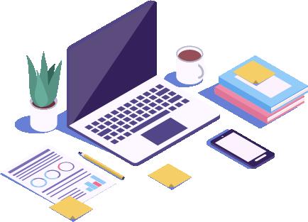 ordinateur, stylo, bureau, téléphone, café
