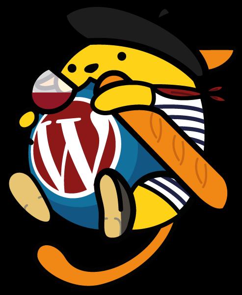 Wapuu WordPress avec petite baguette vin et bérêt
